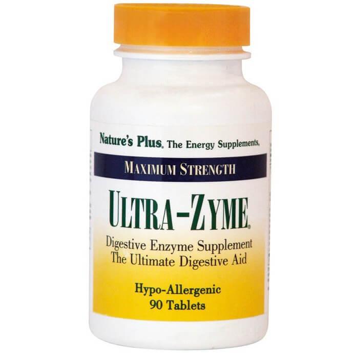 Natures Plus Ultra-Zyme Συμπλήρωμα Διατροφής Ισχυρής Φόρμουλας Πεπτικών Ενζύμων 90Tabs