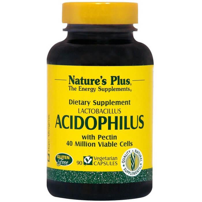 Natures Plus Acidophilus With Pectin Συμπλήρωμα Διατροφής, Προβιοτικό που Βοηθά στην Υποστήριξη της Υγιούς Πέψης 90Veg.Caps