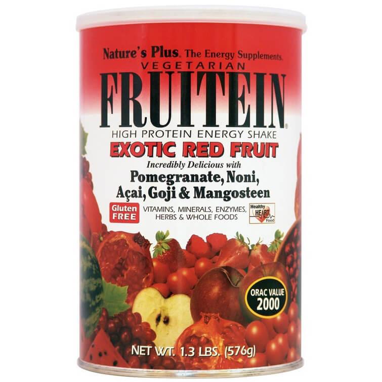 Natures Plus Fruitein Exotic Red Fruit Shake 1,3lb Συμπλήρωμα Διατροφής,Φόρμουλα Πλήρους Πρωτεΐνης, Γεύση Εξωτικά Φρούτα 576gr
