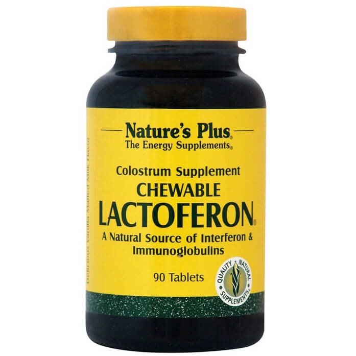 Natures Plus Lactoferon Συμπλήρωμα Διατροφής από Καθαρό Πρωτόγαλα, Έξτρα Ενίσχυση του Ανοσοποιητικού Συστήματος 90ChewTabs
