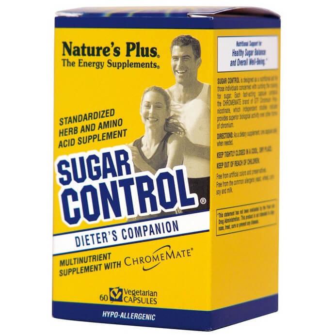 Natures Plus Control Sugar Φόρμουλα που Βοηθά στην Καταπολέμηση της Βουλιμίας για Γλυκά και Ζάχαρη, Υποαλλεγικό 60Veg.Caps