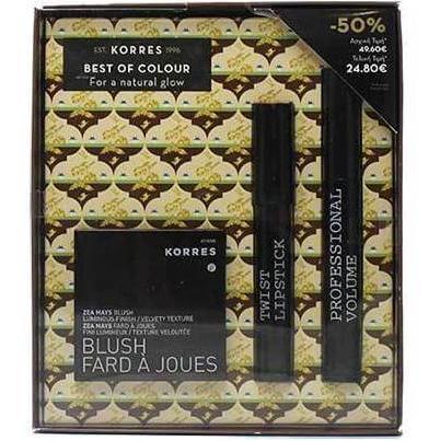 Korres Σετ Δώρου με Zea Mays Ρουζ No21 Rose & Black Volcanic Minerals Mascara 3D Μαύρο & Βατόμουρο Twist Lipstick Κραγιόν Grace