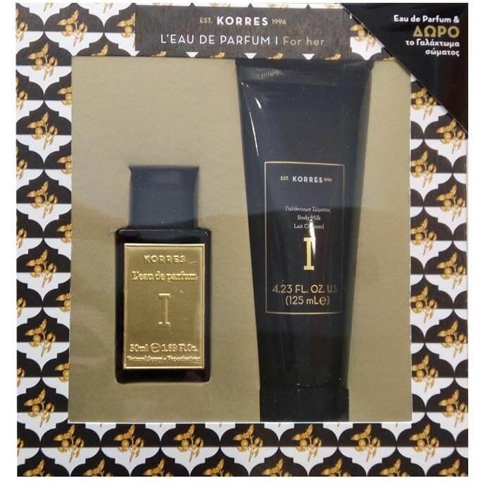 Korres Γυναικείο Σετ Eau de Parfum Freesia/Patchouli/Vanilla/Bergamot Άρωμα 50ml & Δώρο Body Milk Γαλάκτωμα Σώματος 125ml