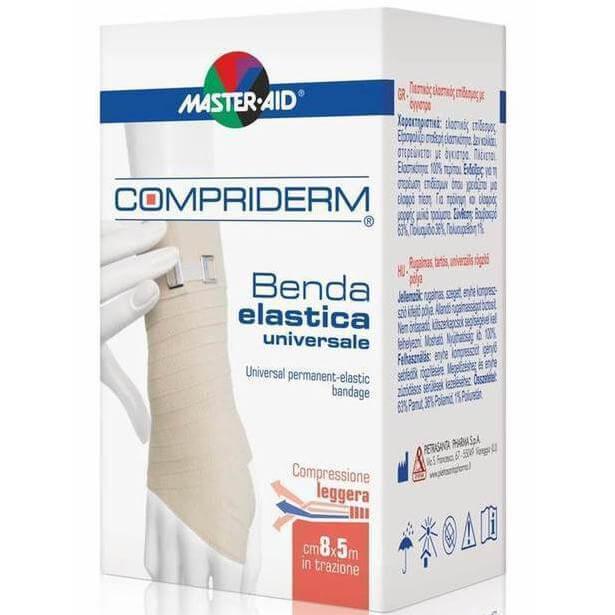 Master Aid Compriderm Λευκός Ελαστικός Επίδεσμος με Άγκιστρα – 5m x 10cm