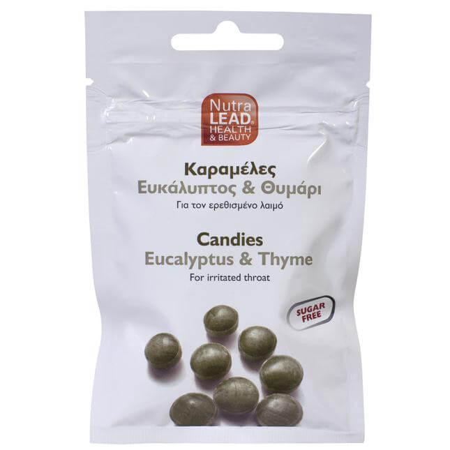 NutraLead Καραμέλες με Ευκάλυπτο & Θυμάρι για τον Ερεθισμένο Λαιμό Χωρίς Ζάχαρη 40gr