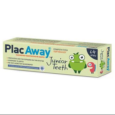 Plac Away Junior Teeth Παιδική Oδοντόκρεμα που Προστατεύει από την Τερηδόνα & την Ουλίτιδα με Γεύση Πορτοκάλι απο 6 Ετών 50ml