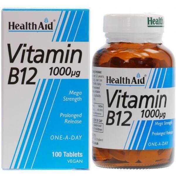 Health Aid Vitamin B12 1000μg Βιταμίνη B12 για την Καλή Λειτουργία του Νευρικού Συστήματος 100 veg. tabs