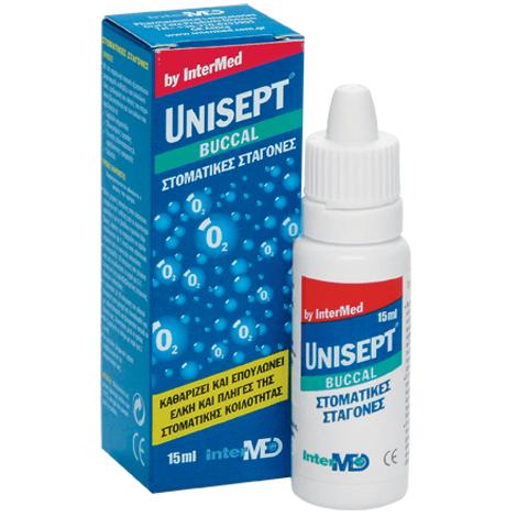 Intermed Unisept Buccal (Oromucosal) Drops Σταγόνες Στόματος για Καθαρισμό, Επούλωση & Ανακούφιση Ελκών & Πληγών 15 ml