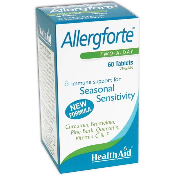 Health Aid Allergforte Φυσικό Αντισταμινικό για τις Εποχιακές Αλλεργίες Με Αντιφλεγμονώδεις & Αντιοξειδωτικές Ιδιότητες 60tabs
