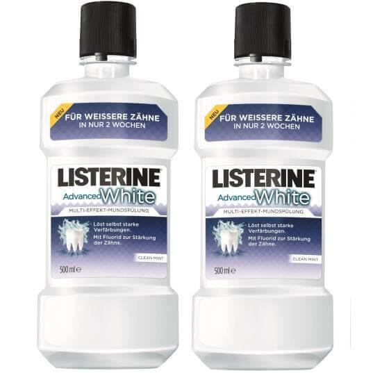 Listerine Advanced White Λευκαίνει τα Δόντια 500ml 1 + 1 Δώρο
