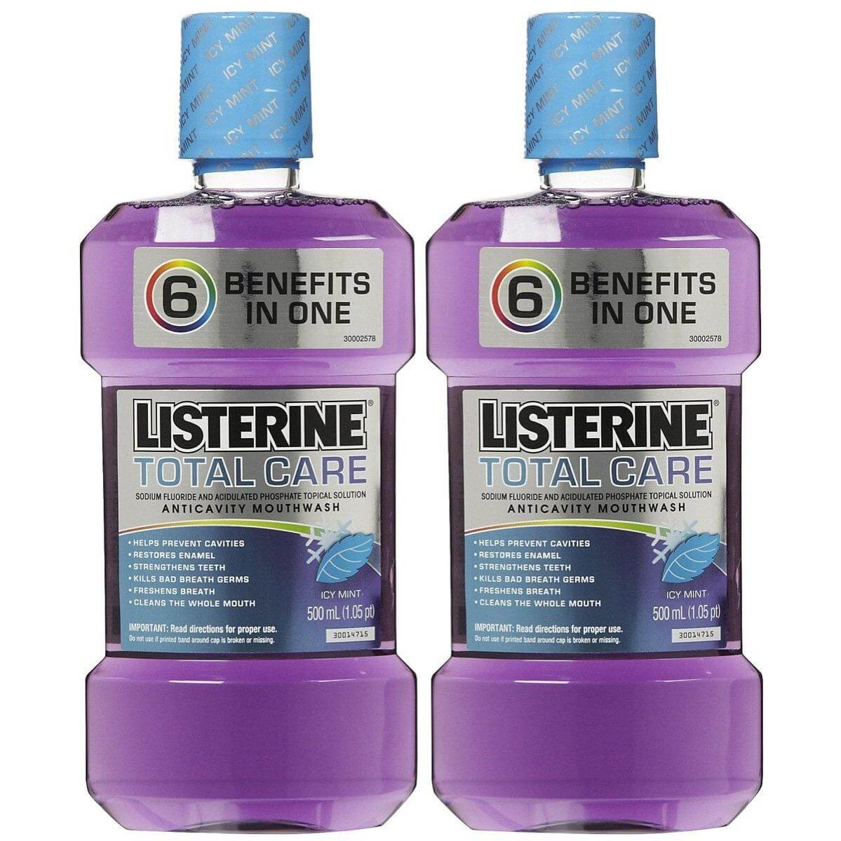 Listerine Total Care 6 Οφέλη για Ολοκληρωμένη Στοματική Υγιεινή 2 x 500ml 1+1 Δώρο