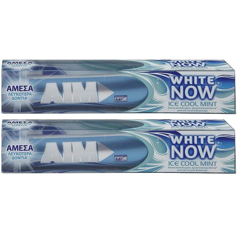 Aim Πακέτο Προσφοράς White Now Ice Cool Mint Οδοντόκρεμα για Άμεσα Λευκότερα Δόντια, με Δροσερή Γεύση Μέντα 2x75ml 1+1 Δώρο