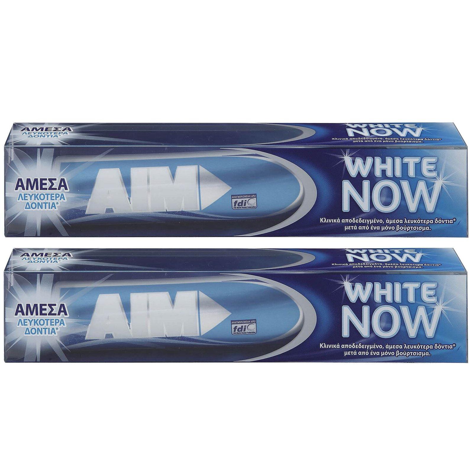 AIM Πακέτο Προσφοράς White Now Οδοντόκρεμα για Άμεσα Λευκότερα Δόντια 2x75ml 1+1 Δώρο