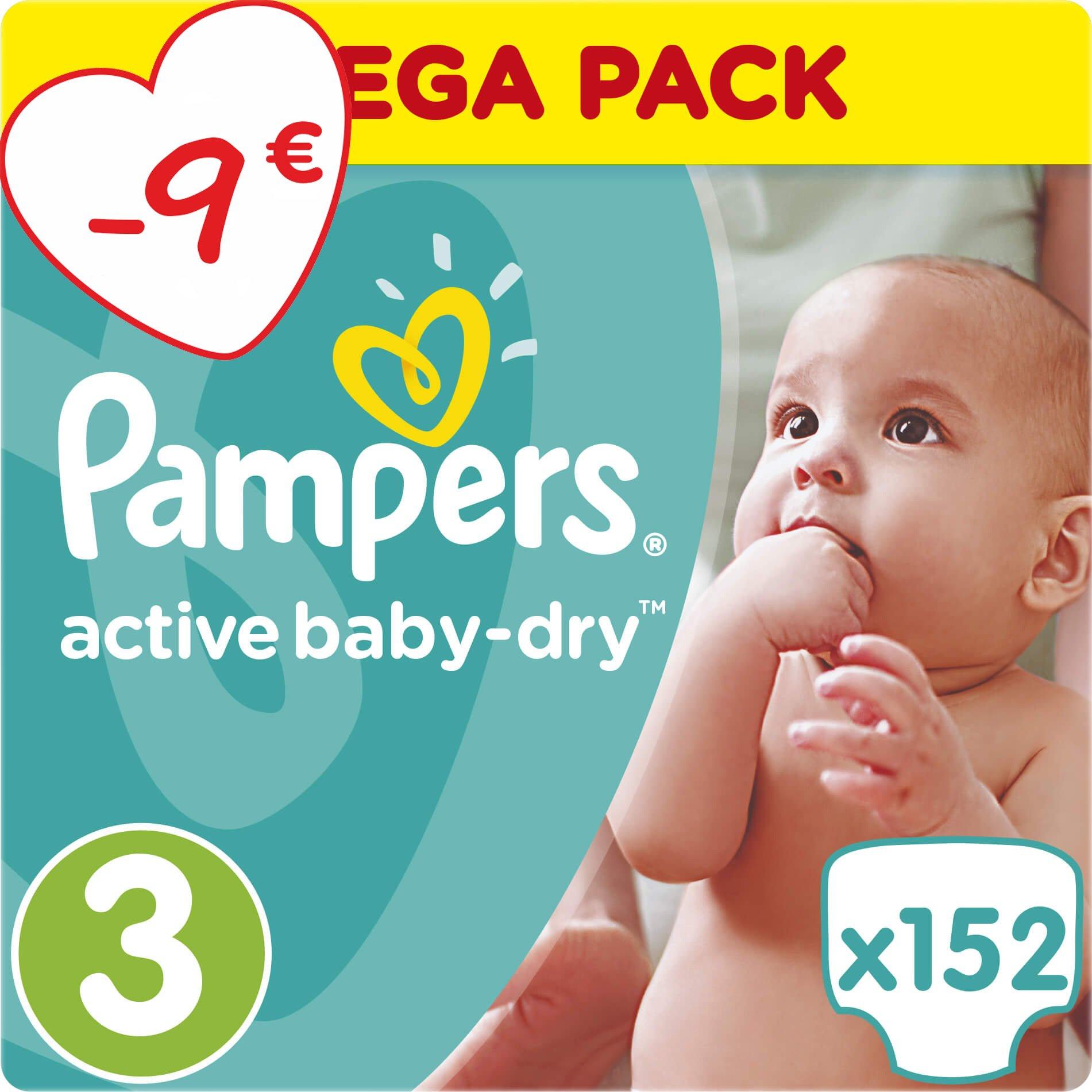 Pampers Active Baby Dry Mega Pack No3 (5-9kg) 152 πάνες, μόνο 0,23€ / πάνα μητέρα παιδί   περιποίηση για το μωρό   πάνες για το μωρό