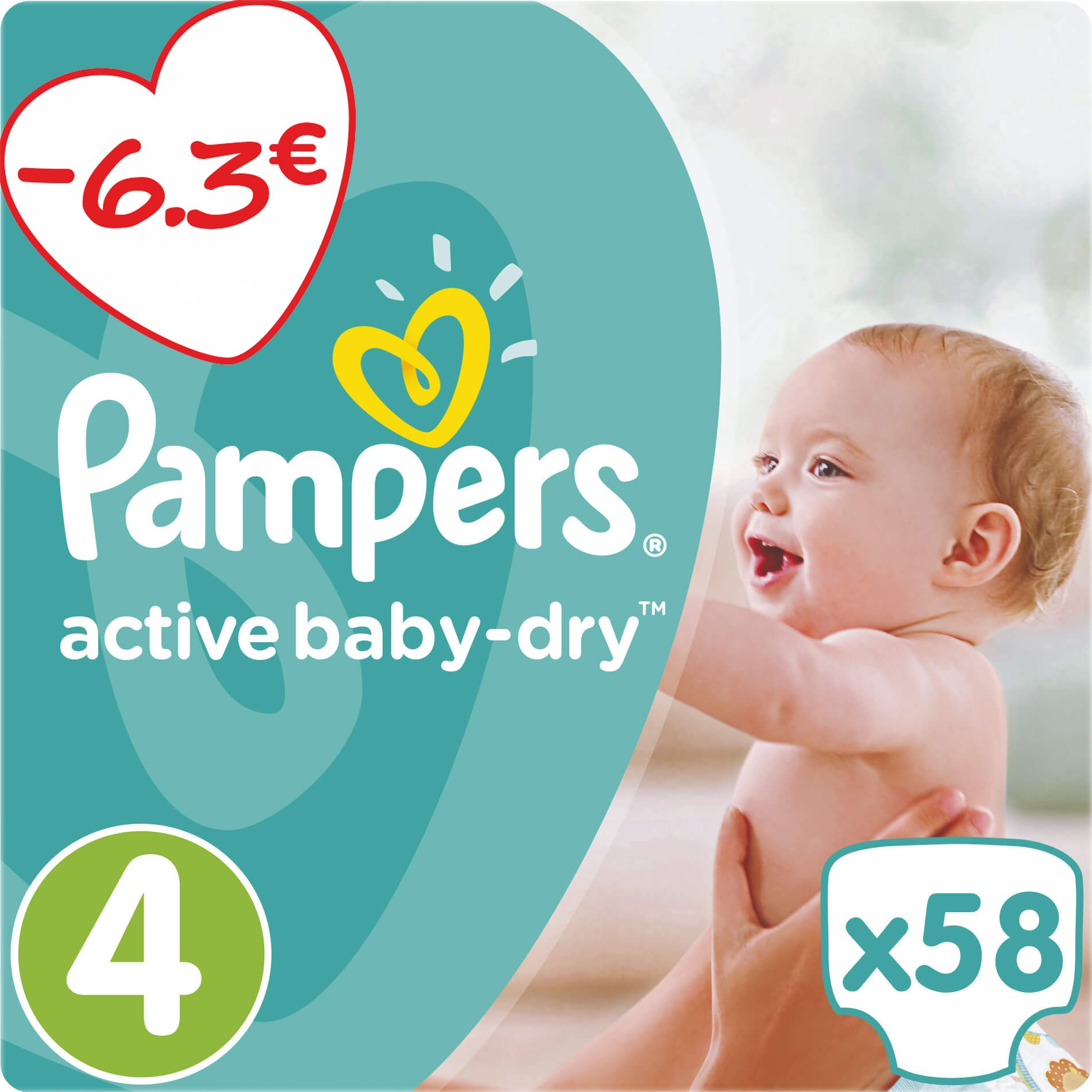 Pampers Active Baby Dry Jumbo Pack No4 (8-14kg) 58 πάνες μητέρα παιδί   περιποίηση για το μωρό   πάνες για το μωρό