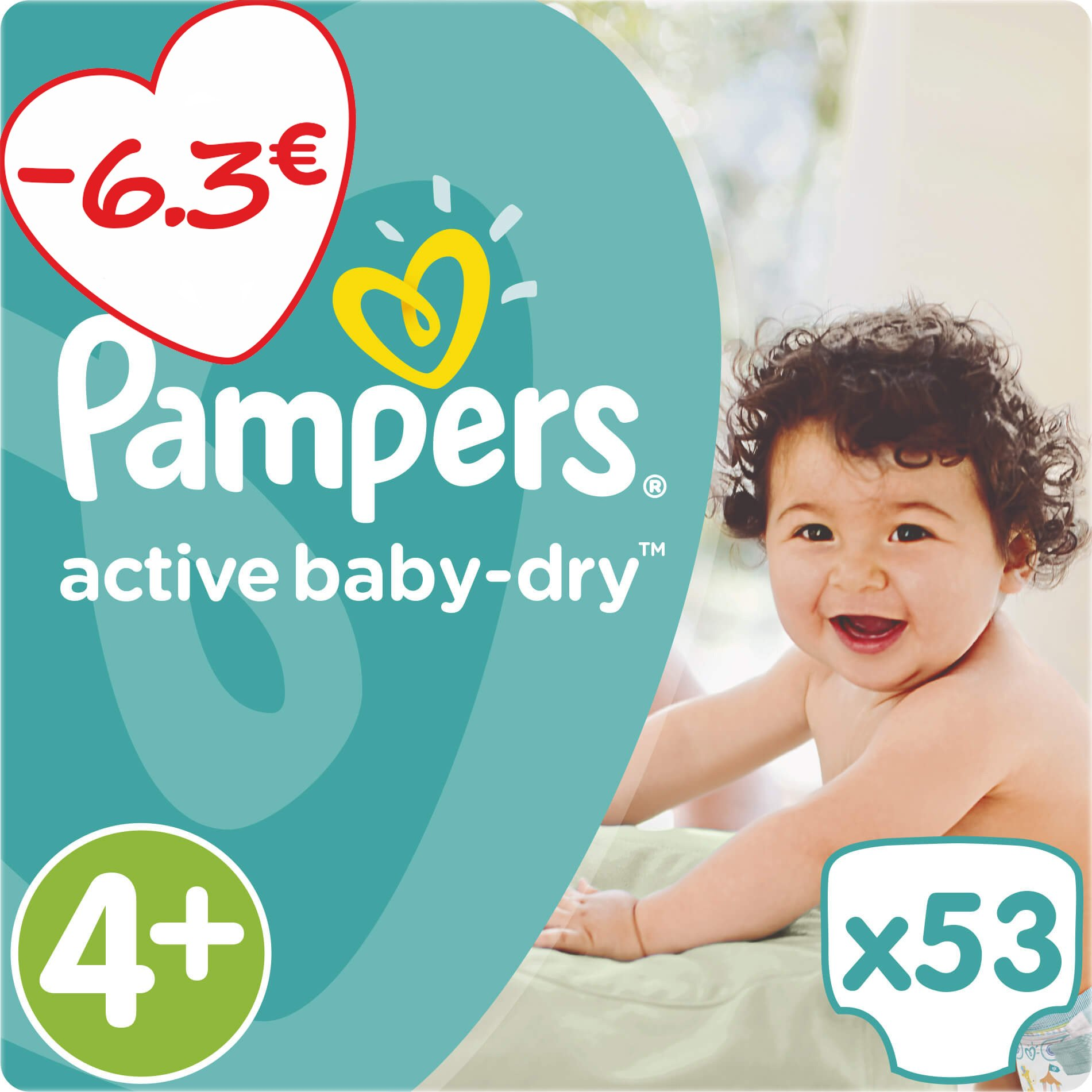 Pampers Active Baby Dry Jumbo Pack No4+ (9-16kg) 53 πάνες μητέρα παιδί   περιποίηση για το μωρό   πάνες για το μωρό