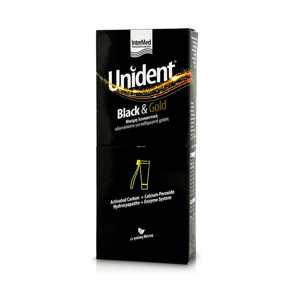 Intermed Unident Black & Gold Toothpaste Λευκαντική Οδοντόπαστα με Μαύρη Χρώση Ειδικά Σχεδιασμένη για Καθημερινή Χρήση 100ml