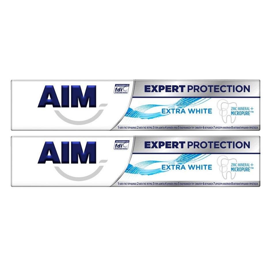 Aim Πακέτο Προσφοράς Expert Protection Extra White Λευκαντική Οδοντόκρεμα Πολλαπλής Προστασίας 2x75ml 1+1 Δώρο