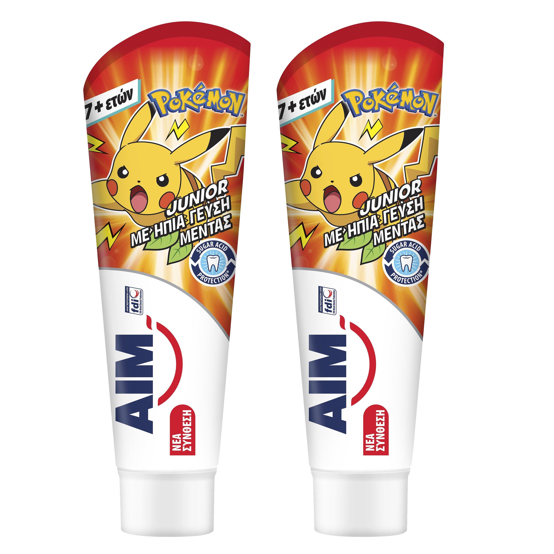 Aim Πακέτο Προσφοράς Junior Pokemon Παιδική Οδοντόκρεμα με Ήπια Γεύση Μέντας 7+ Ετών 2x75ml 1+1 Δώρο