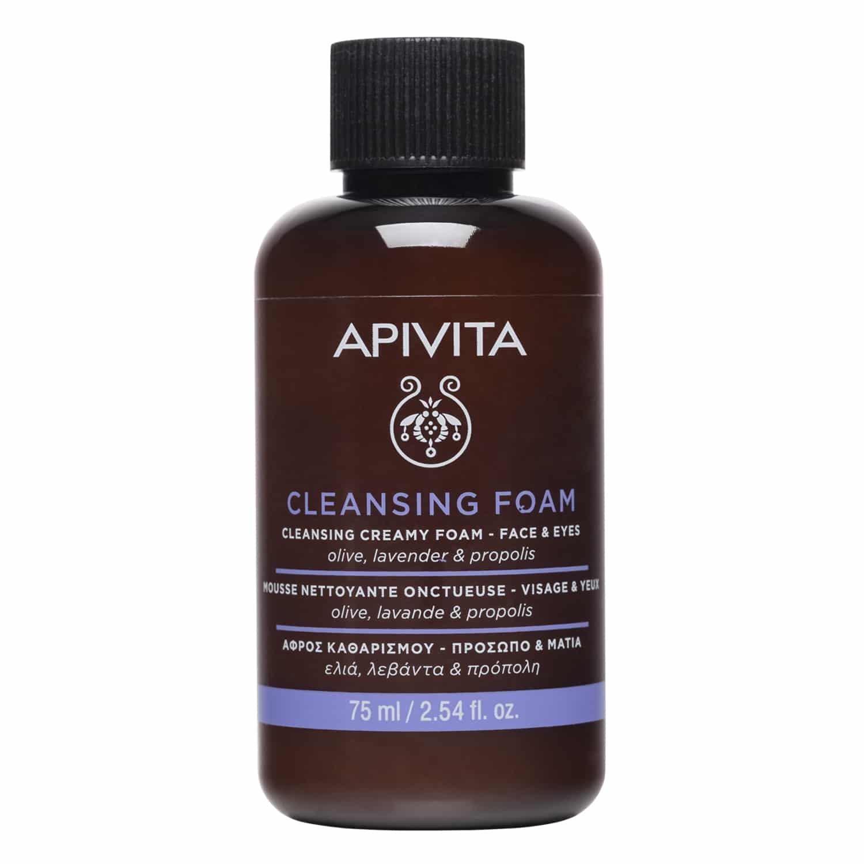Apivita Cleansing Foam Travel Size Κρεμώδης Αφρός Καθαρισμού για Πρόσωπο & Μάτια με Λεβάντα, Ελιά & Πρόπολη 75ml