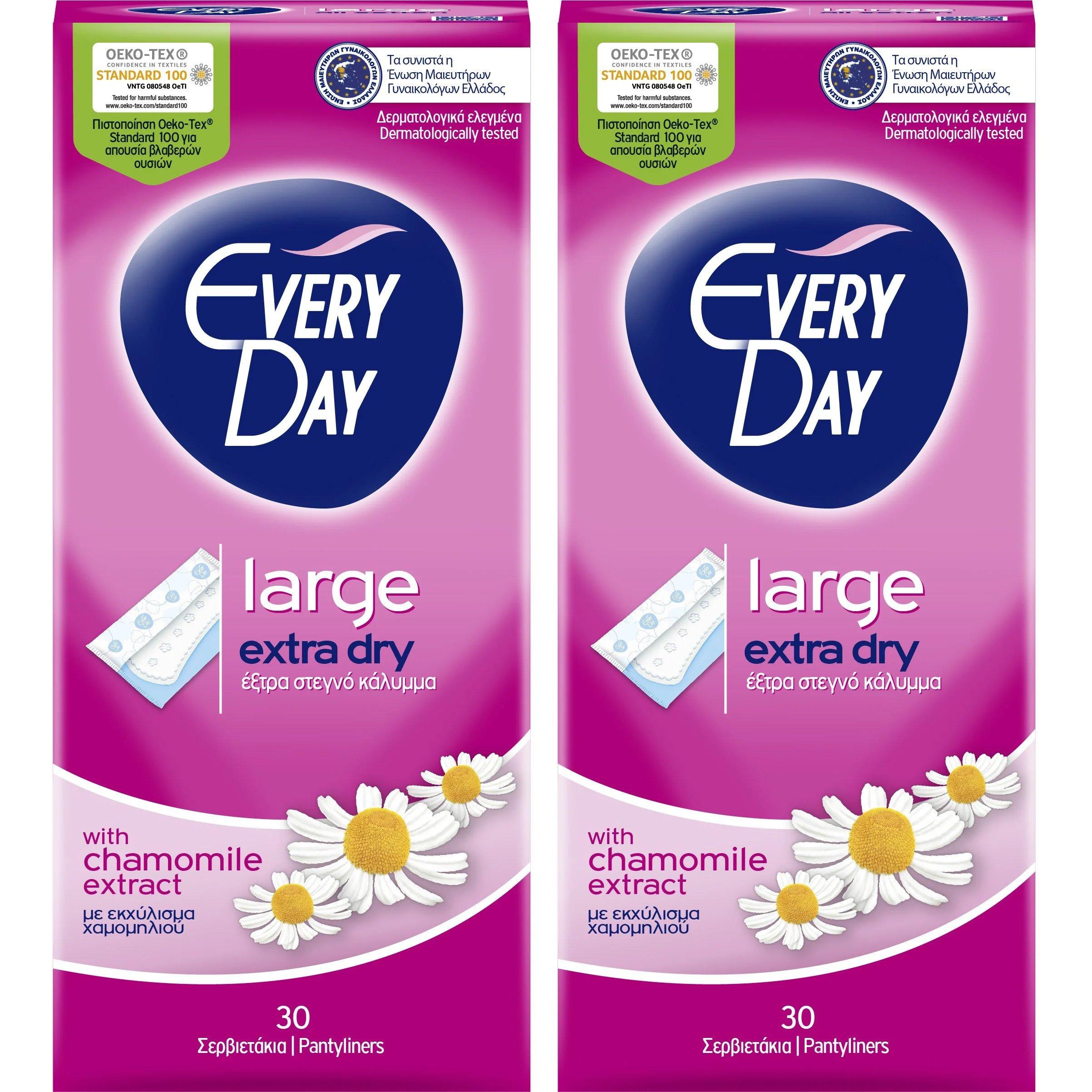 Every Day Πακέτο Προσφοράς Extra Dry Large Ανατομικά Σερβιετάκια για Μεγάλη Ροή 2×30 Τεμάχια 1+1 Δώρο