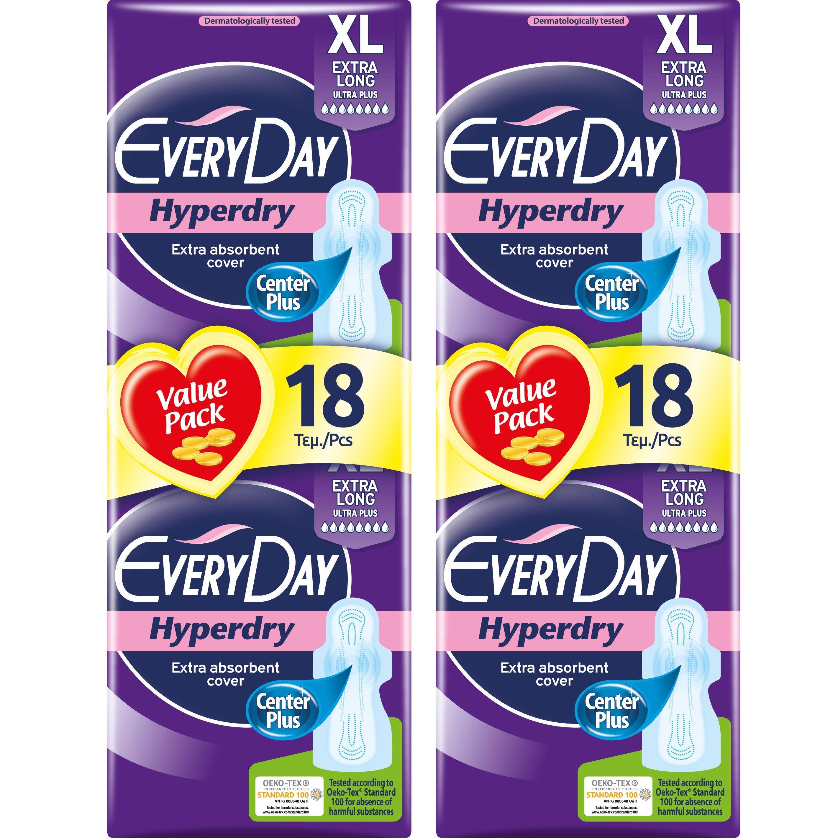 Every Day Πακέτο Προσφοράς Hyperdry Extra Long XL Value Pack Σερβιέτες Ιδανικές για Μεγάλη Ροή 2×18 Τεμάχια 1+1 Δώρο