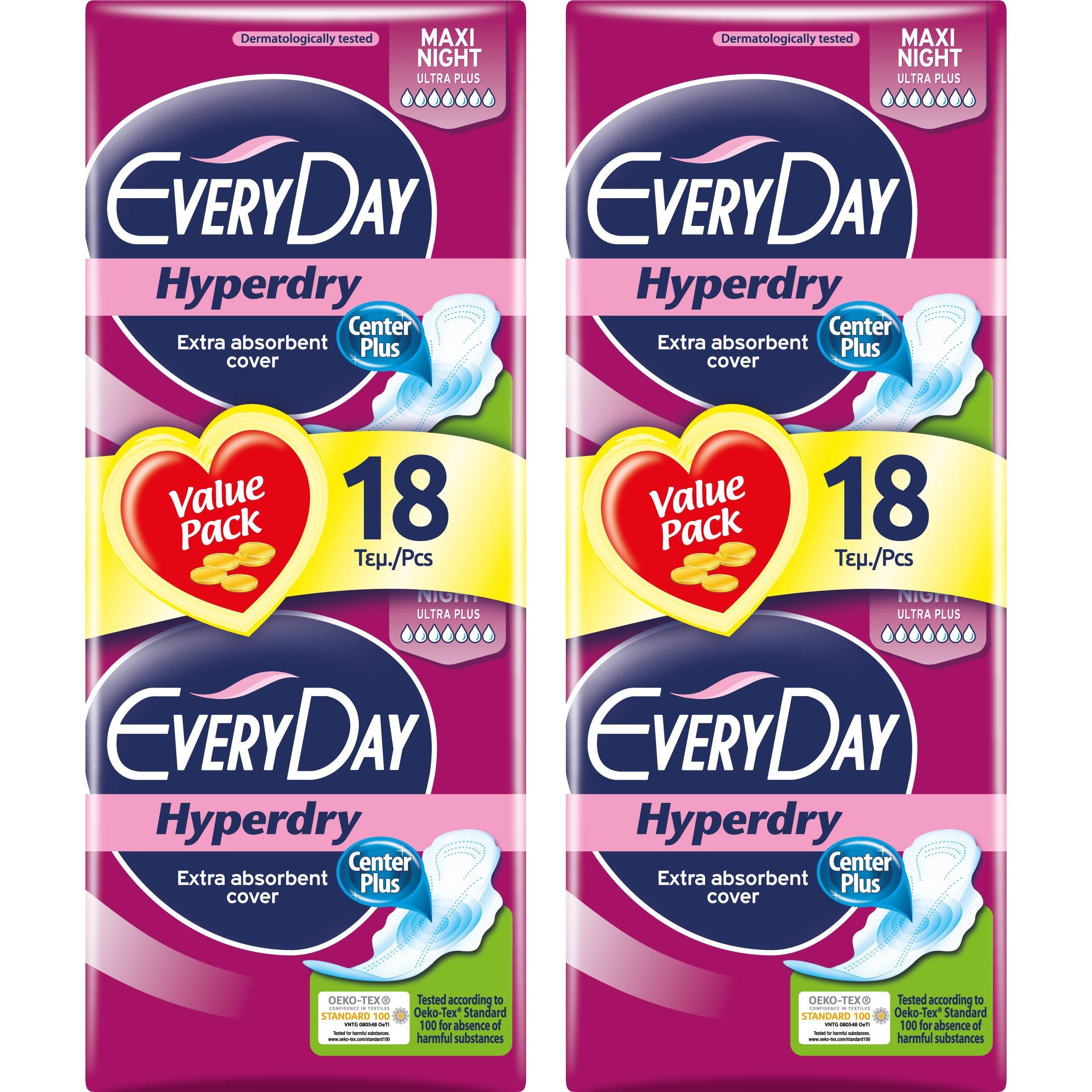 Every Day Πακέτο Προσφοράς Hyperdry Maxi Night Value Pack Σερβιέτες Ιδανικές για τη Νύχτα 2×18 Τεμάχια 1+1 Δώρο