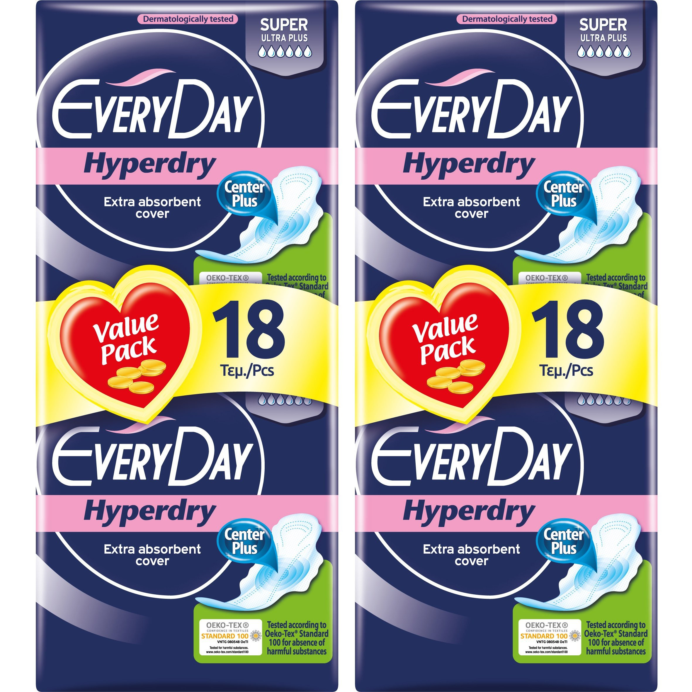 Every Day Πακέτο Προσφοράς Hyperdry Super Ultra Plus Value Pack Σερβιέτες Ιδανικές για Πολύ Μεγάλη Ροή 2×18 Τεμάχια 1+1 Δώρο