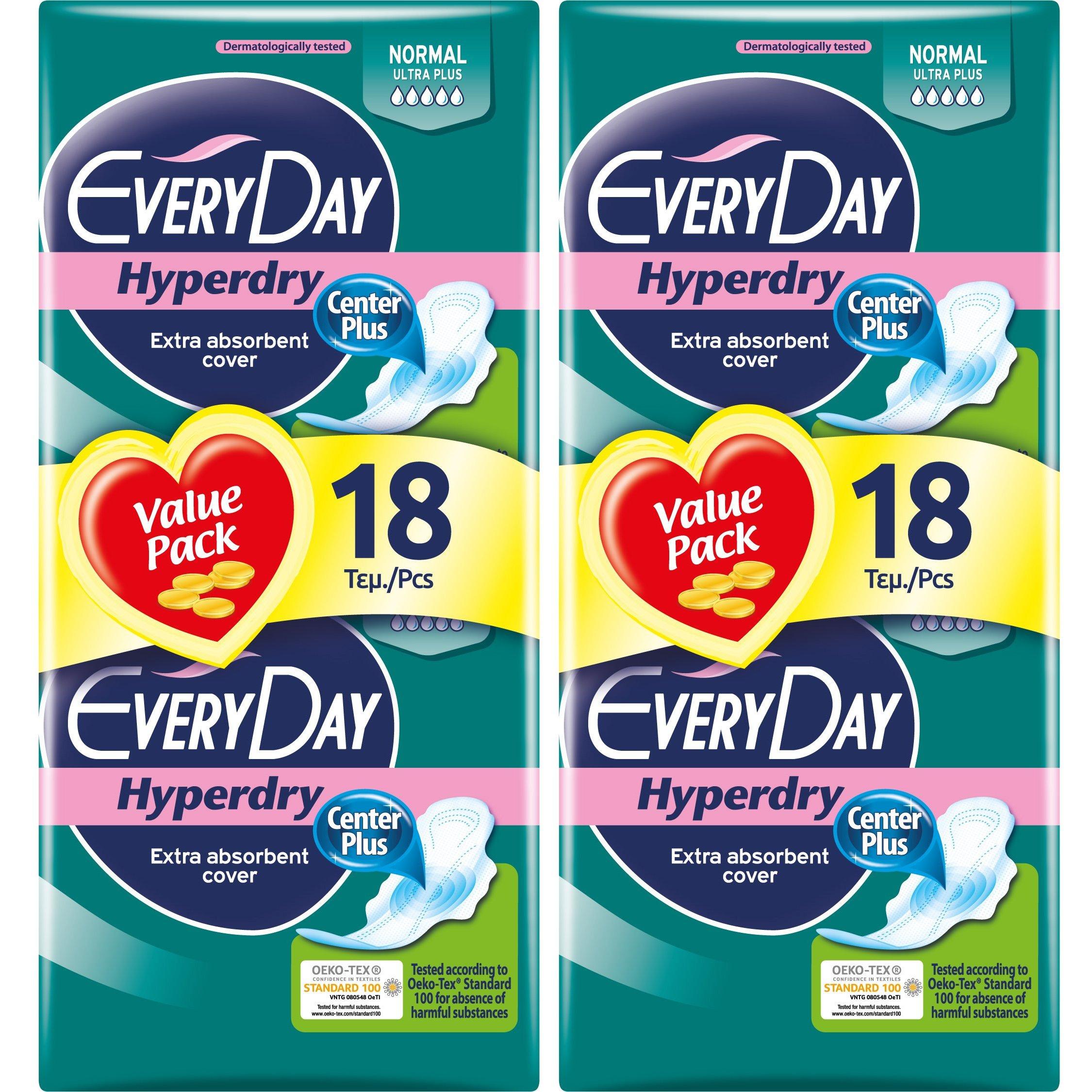Every Day Πακέτο Προσφοράς Hyperdry Normal Ultra Plus Value Pack Σερβιέτες Ιδανικές για Κανονική Ροή 2×18 Τεμάχια 1+1 Δώρο