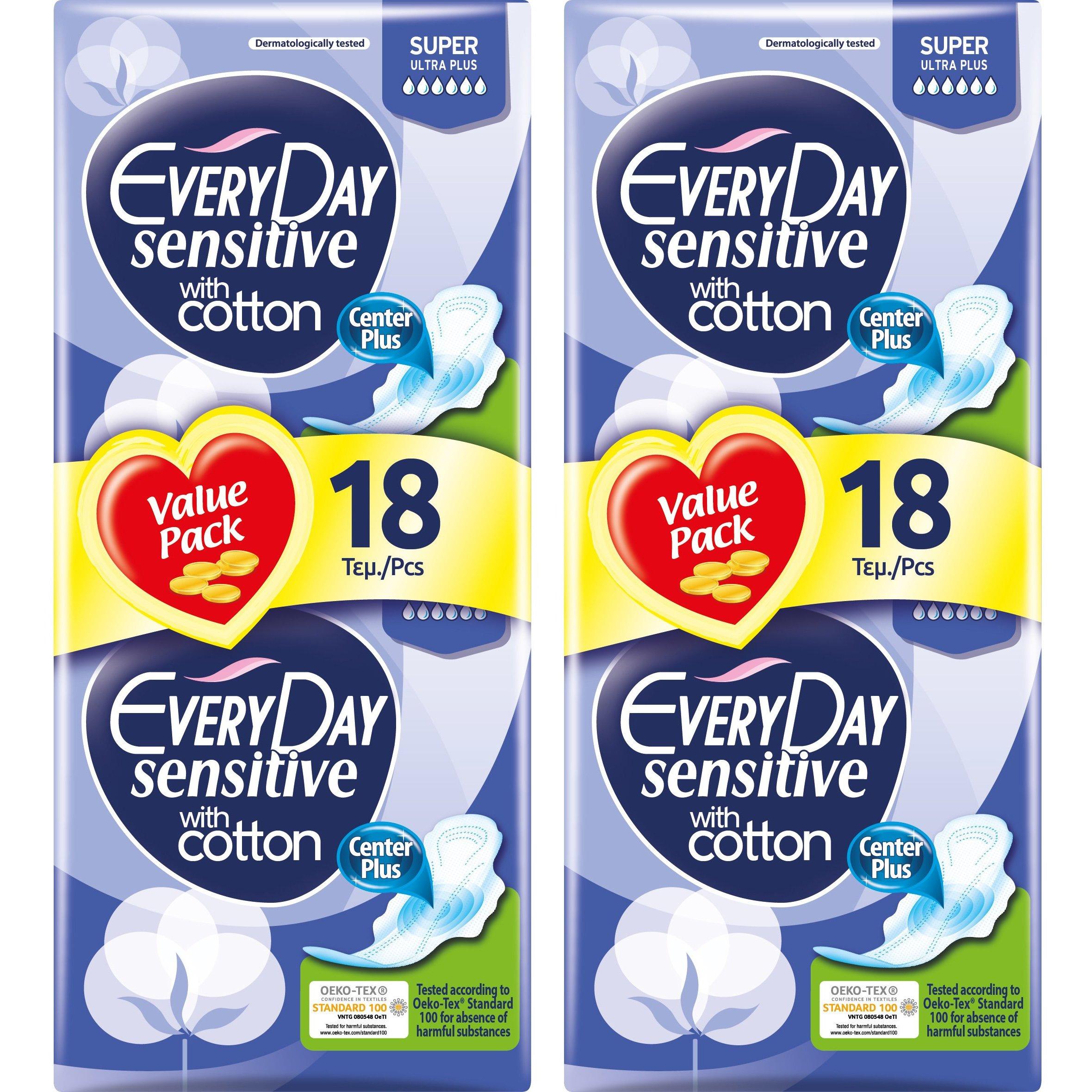 Every Day Πακέτο Προσφοράς Sensitive Super Ultra Plus Value Pack Σερβιέτες Ιδανικές για Πολύ Μεγάλη Ροή 2×18 Τεμάχια 1+1 Δώρο