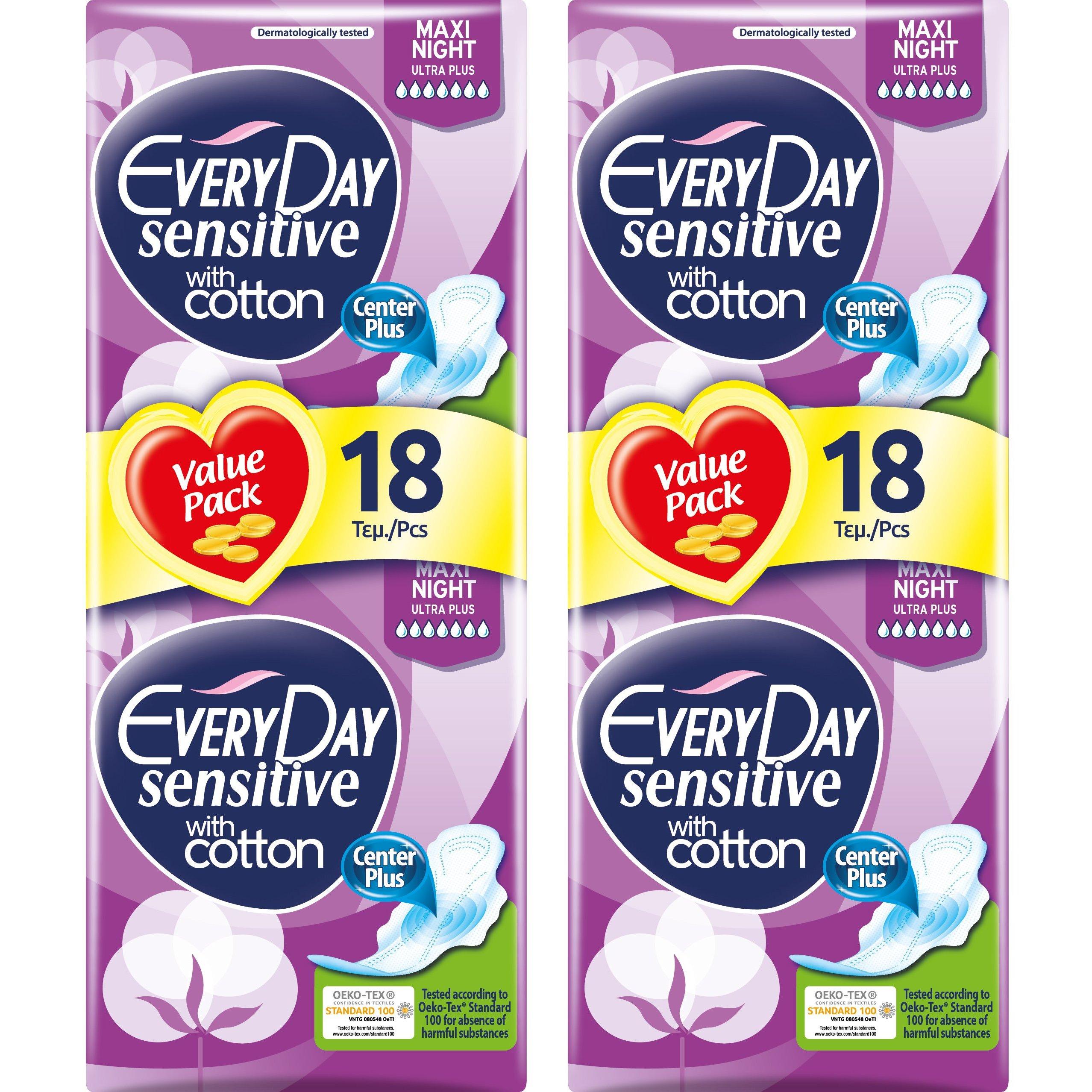 Every Day Πακέτο Προσφοράς Sensitive Maxi Night Ultra Plus Value Pack Σερβιέτες Ιδανικές για τη Νύχτα 2×18 Τεμάχια 1+1 Δώρο