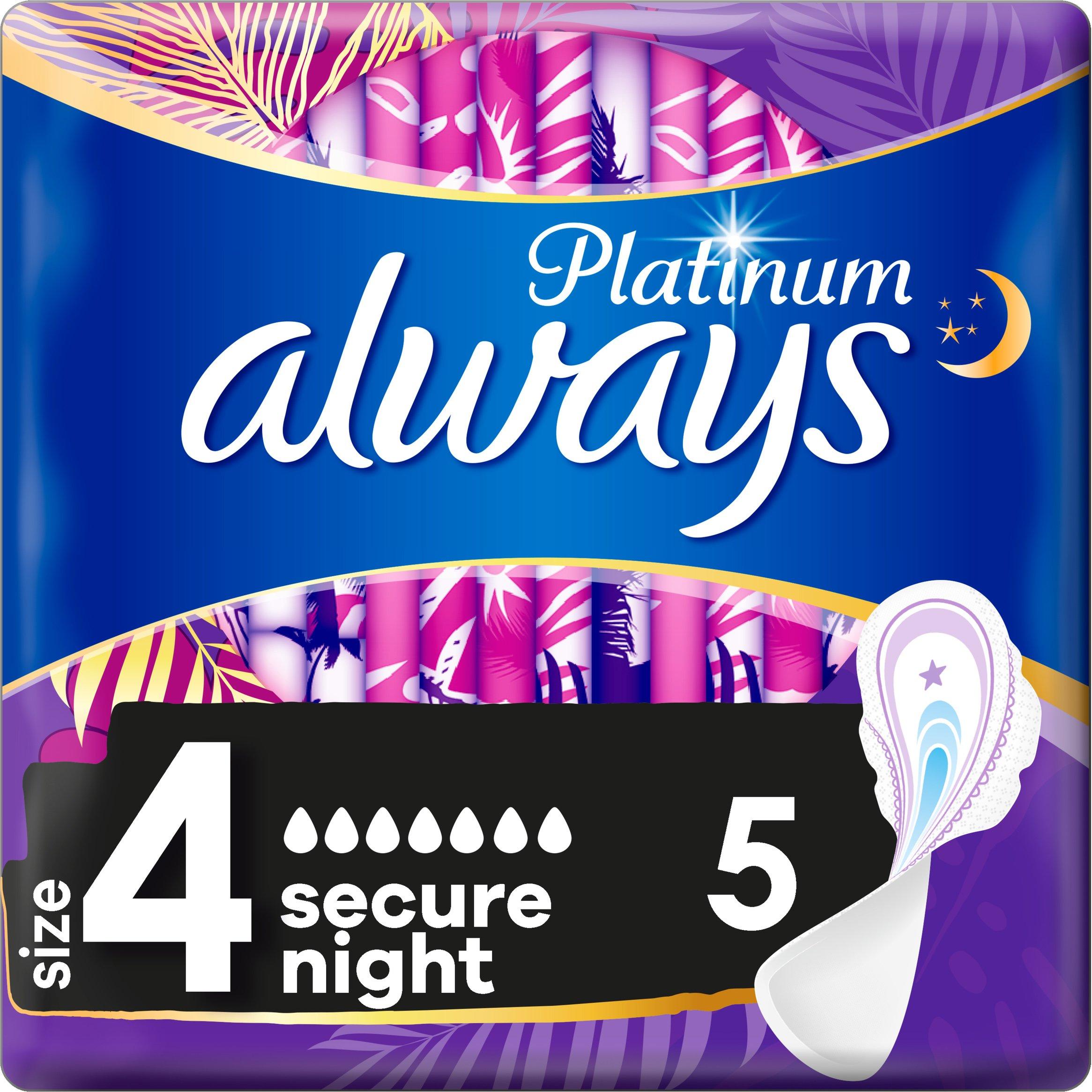 Always Platinum Σερβιέτες Μέγεθος 4 Ultra Secure Night 5 Pads