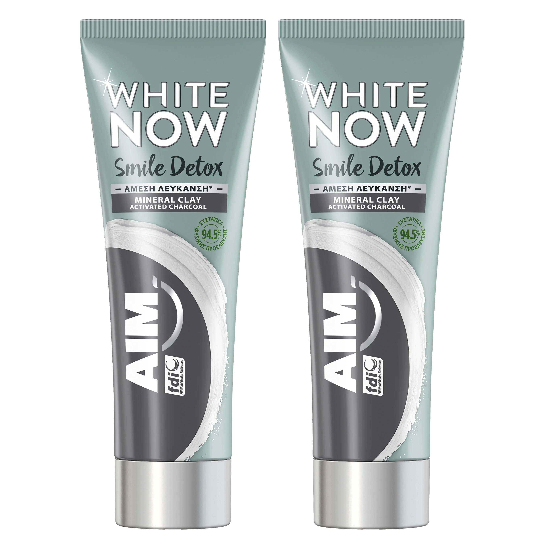 Aim Πακέτο Προσφοράς White Now Smile Detox Charcoal Λευκαντική Οδοντόκρεμα για Άμεσα Λευκότερο Χαμόγελο 2x75ml 1+1 Δώρο
