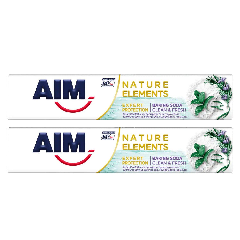 Aim Πακέτο Προσφοράς Nature Elements Expert Protection Baking Soda Οδοντόκρεμα,Βαθύς Καθαρισμός, Δροσερή Αναπνοή 2x75ml 1+1 Δώρο