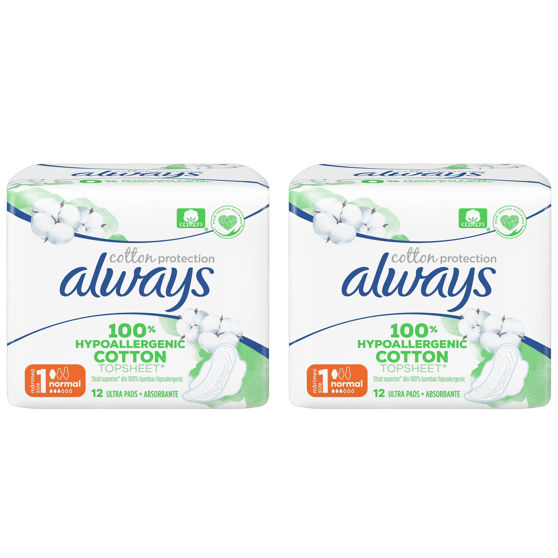 Always Πακέτο Προσφοράς Cotton Protection Normal Σερβιέτες με Κάλυμμα από 100% Οργανικό Βαμβάκι, Κανονική Ροή 2×12 Pads 1+1 Δώρο