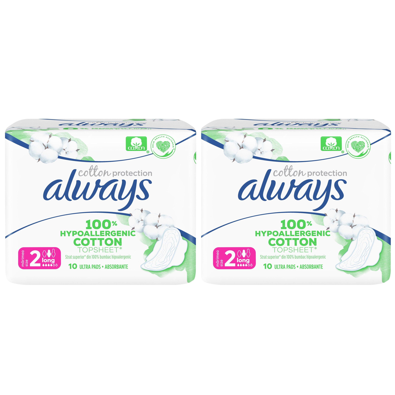 Always Πακέτο Προσφοράς Cotton Protection Long Σερβιέτες με Κάλυμμα από 100% Οργανικό Βαμβάκι, Μεγάλη Ροή 2×10 Pads 1+1 Δώρο