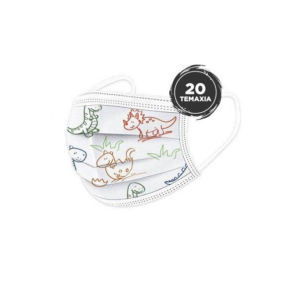Παιδικές Χειρουργικές Μάσκες Προσώπου 3ply Τύπου II R με Λάστιχο και Μεταλλικό Έλασμα σε Συσκευασία με Ζελατίνα 20 Τεμάχια