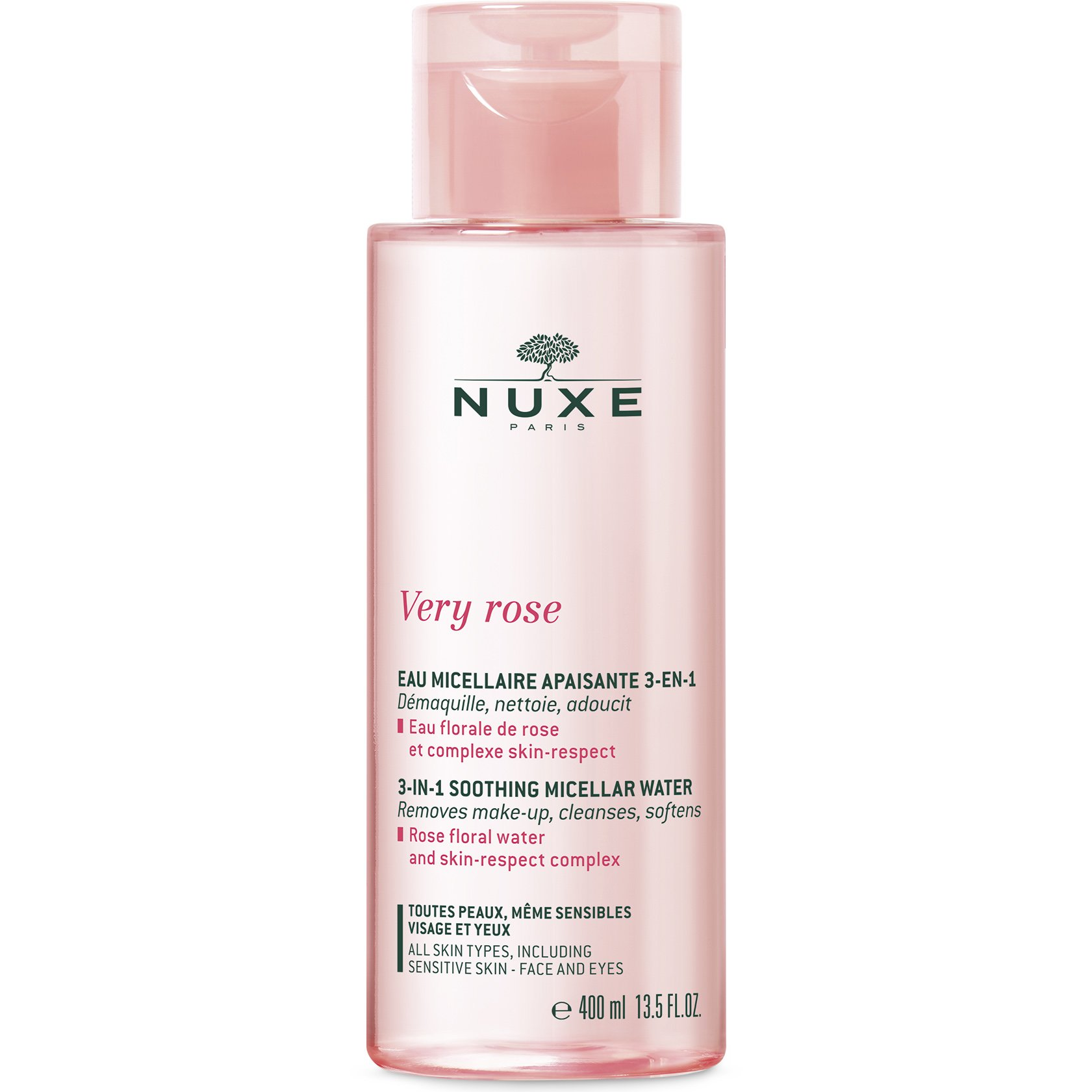 Nuxe Very Rose Soothing Micellar Water 3 in 1 Απαλό Μικυλλιακό Νερό Καθαρισμού & Ντεμακιγιάζ με Ροδόνερο 400ml