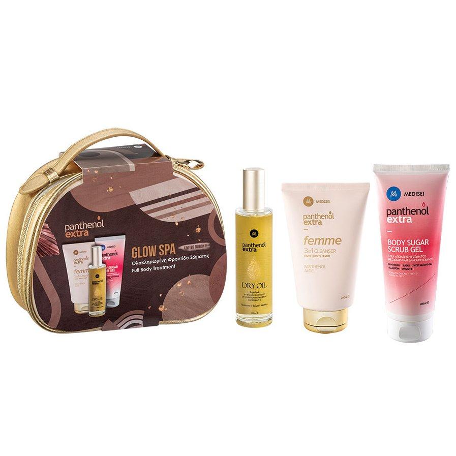 Medisei Panthenol Extra Glow Spa Femme Cleanser 200ml & Body Sugar Scrub Gel 200ml & Extra Dry Oill 100ml