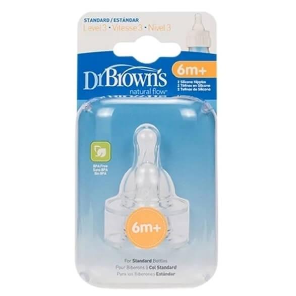 Dr. Browns Θηλές Για Μπιμπερό Με Στενό Λαιμό Επίπεδο 3 Για Βρέφη 6m+, 2 τεμ,332-GB