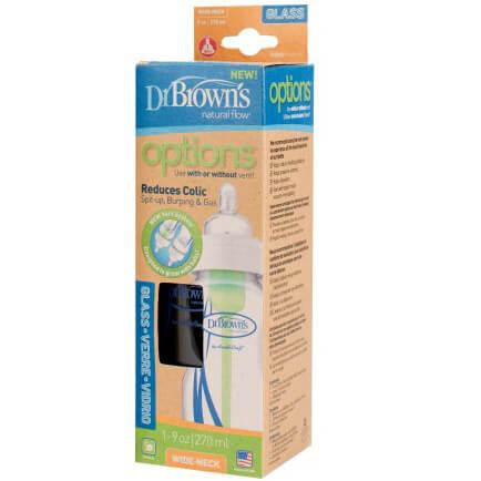 Dr. Browns Natural Flow Γυάλινο Μπιμπερό με Φαρδύ Λαιμό με Θηλή Σιλικόνης 270ml WB 9100