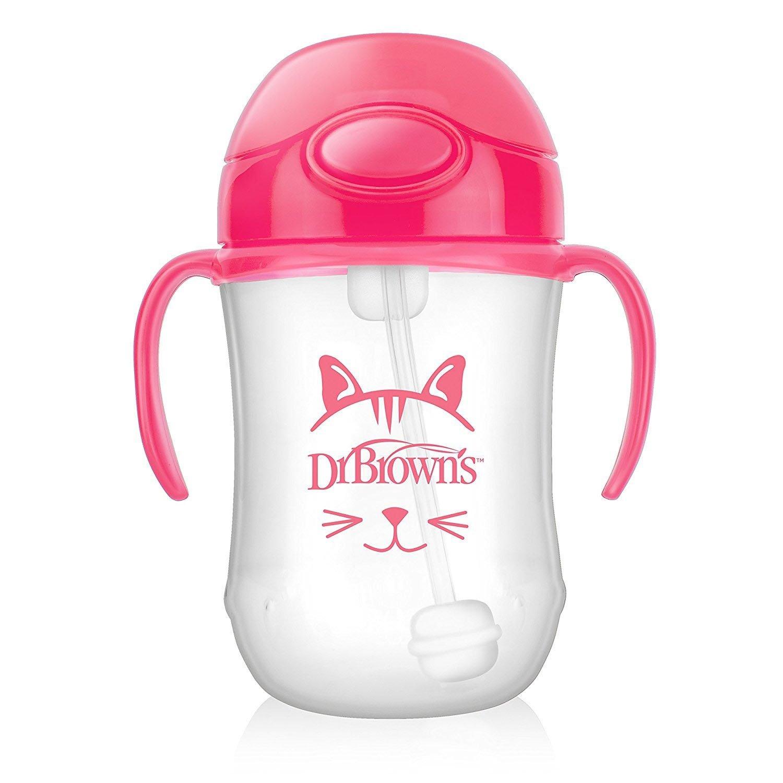 Dr Brown's Baby's First Straw Cup Κύπελλο με Εύπλαστο Καλαμάκι Ροζ TC91011 από 6 Μηνών 270ml
