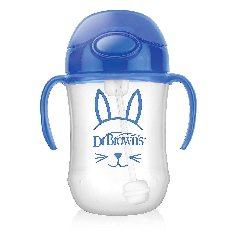 Dr Browns Babys First Straw Cup Κύπελλο με Εύπλαστο Καλαμάκι Μπλε TC91012 από 6 Μηνών 270ml