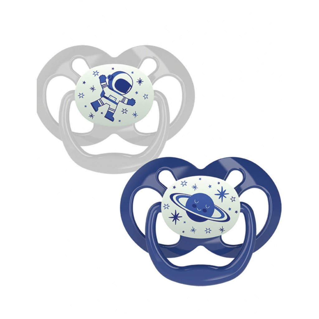 Dr Browns Advantage Πιπίλα Σιλικόνης Μπλε – Γκρι 6-18 Μηνών 2 Τεμάχια PA22004