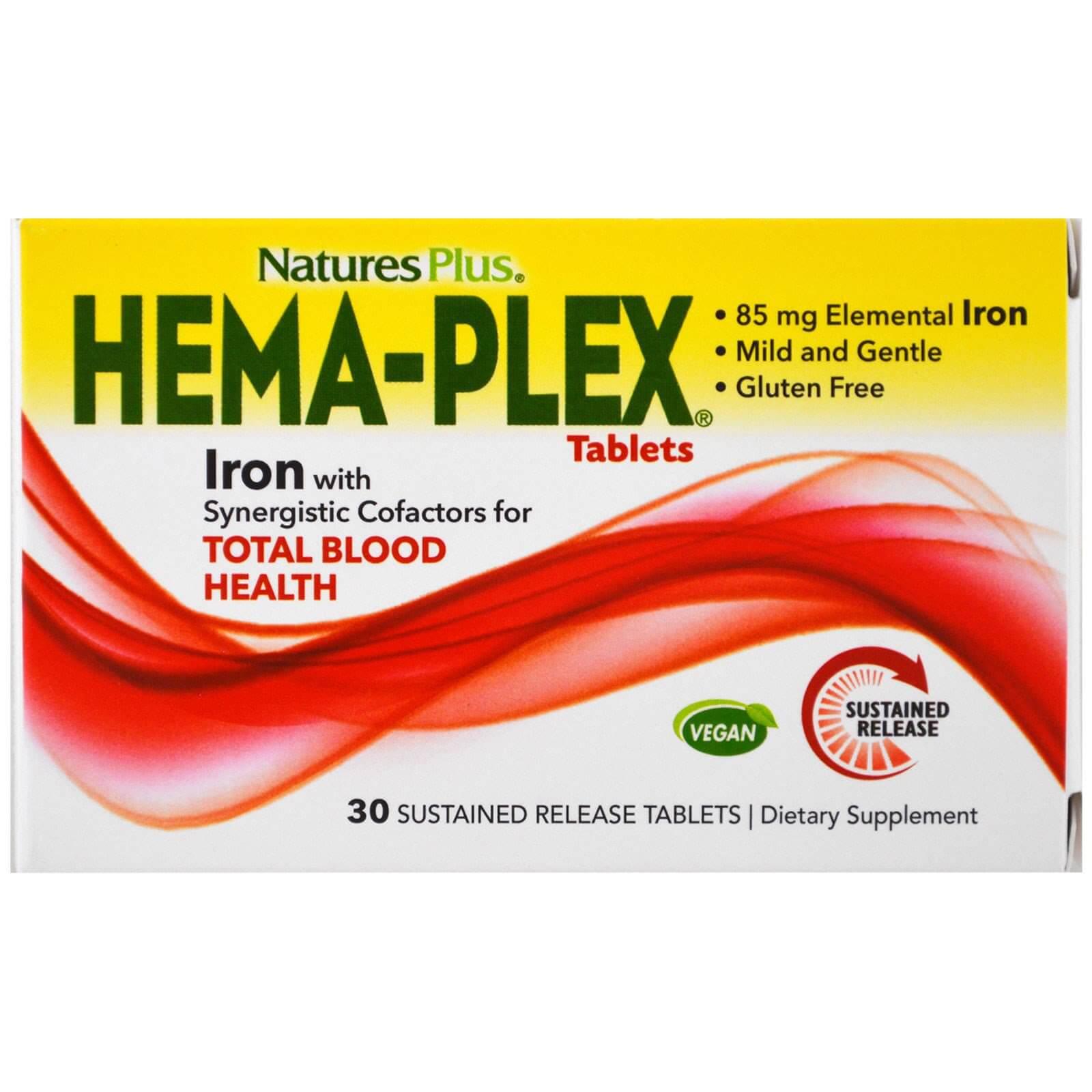 Natures Plus Hema-Plex Συμπλήρωμα Διατροφής με Εξαιρετική Φόρμουλα για τη Βελτίωση της Ποιότητας του Αίματος 30caps