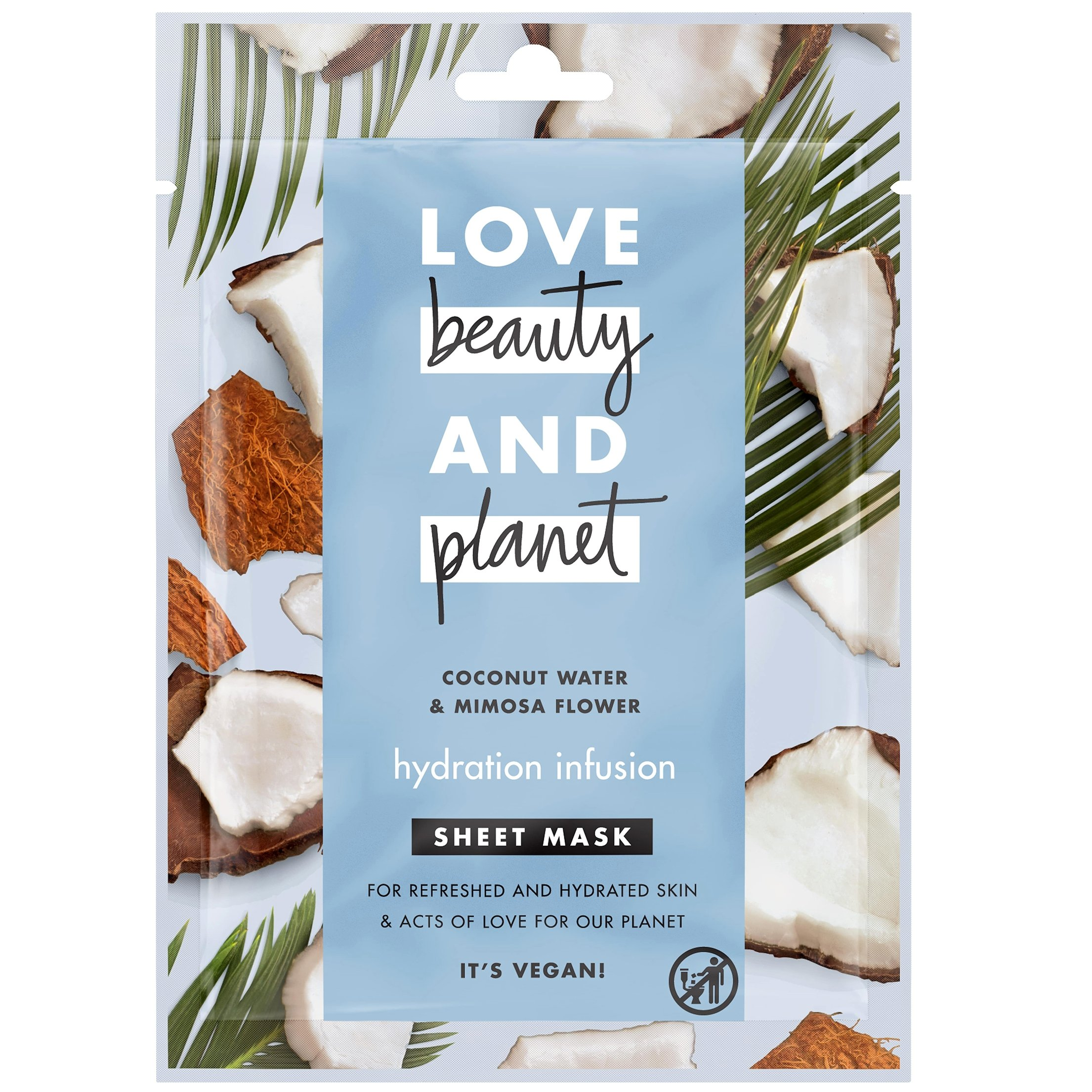 Love Beauty and Planet Face Shett Mask Coconut, Μάσκα Προσώπου για Φρέσκια & Ενυδατωμένη Επιδερμίδα 21ml