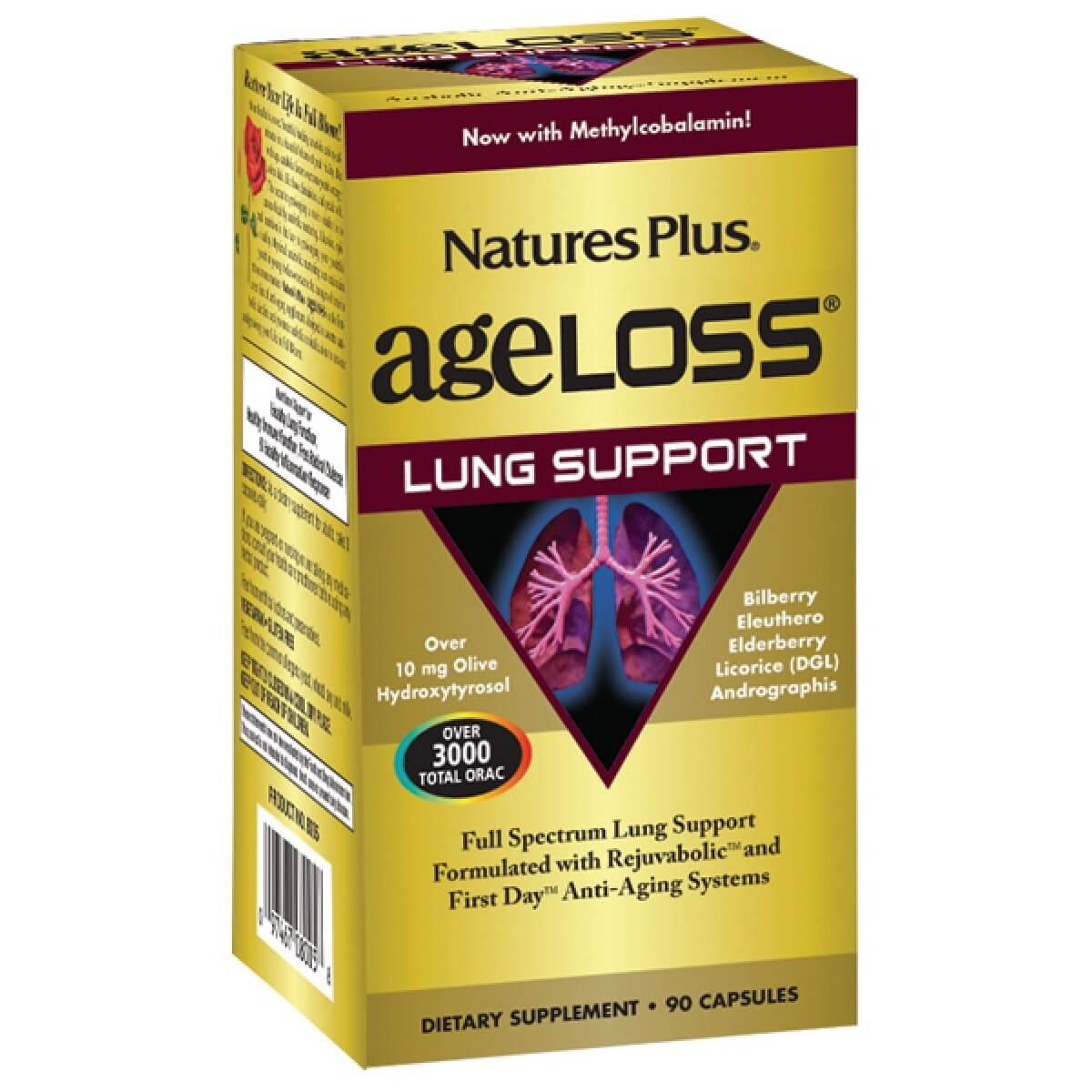 Natures Plus Ageloss Lung Support Συμπλήρωμα Διατροφής για την Υποστήριξη τωνΠνευμόνων90 Κάψουλες