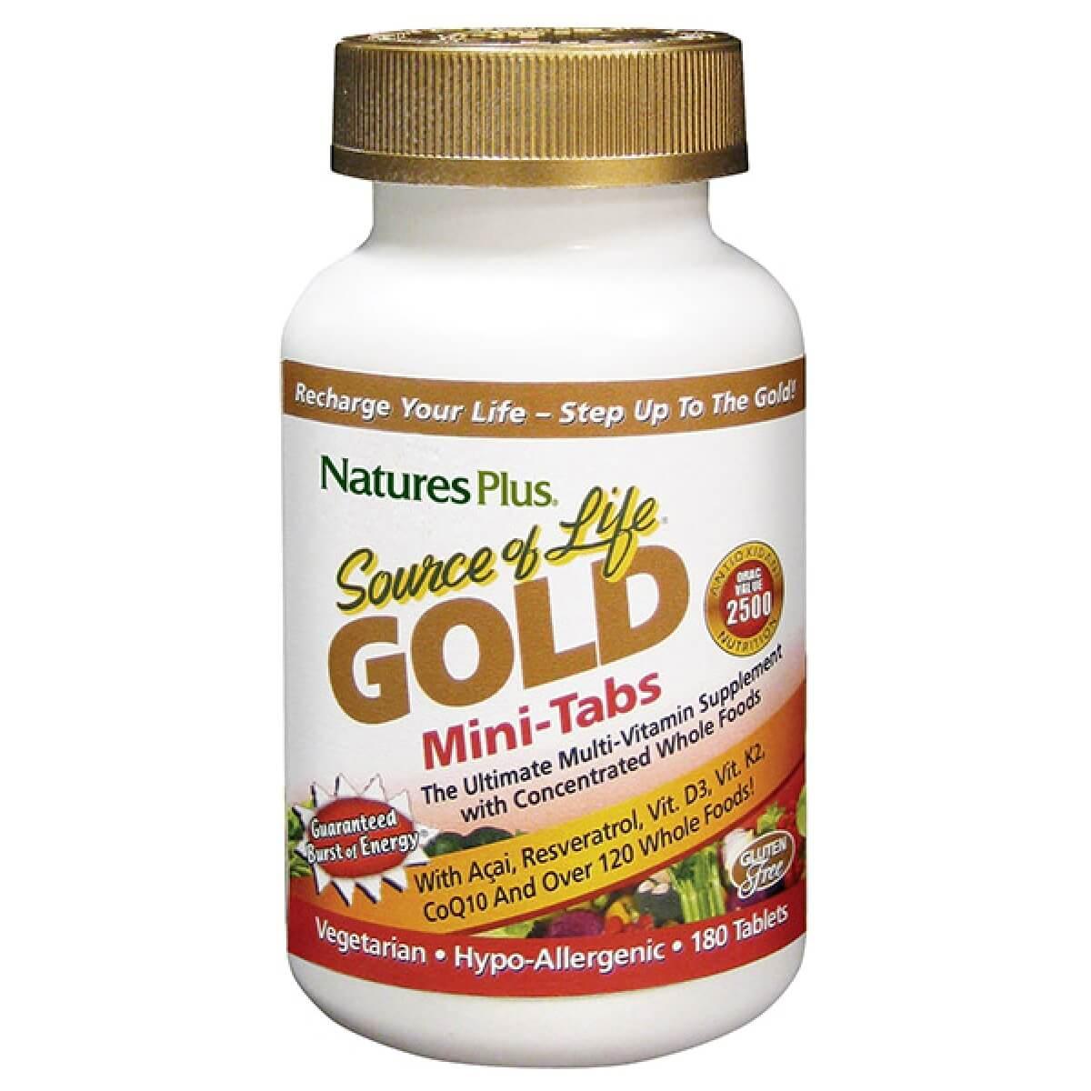 Natures Plus Source Of Life Gold ΠολυβιταμινούχοΣυμπλήρωμα Διατροφής180 Mini Tabs