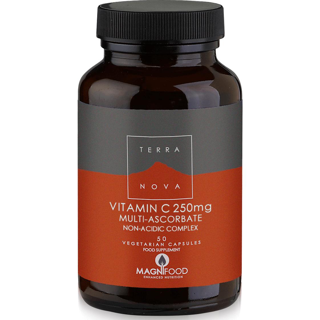 Terranova Vitamin C 250mg Complex Βιταμίνη C με Δυναμικό Συνδυασμό Υπερτροφών, Μέγιστη Απορροφησιμότητα & Αποτελεσματικότητα 50c
