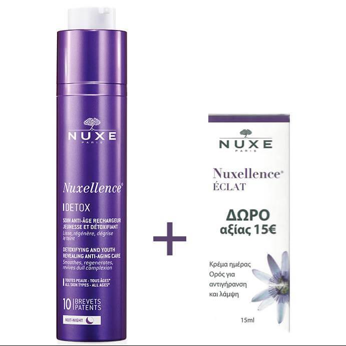 Nuxe Nuxellence Detox Αντιγηραντική Κρέμα-Ορός Νύχτας για Όλους τους Τύπους Επιδερμίδας 50ml & Δώρο Nuxellence Eclat 15ml